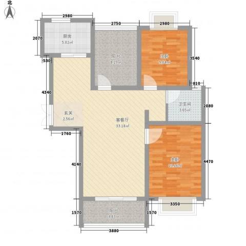 正大国贸中心2室1厅1卫1厨112.00㎡户型图