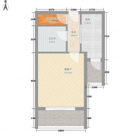 正大国贸中心1厅1卫1厨53.00㎡户型图