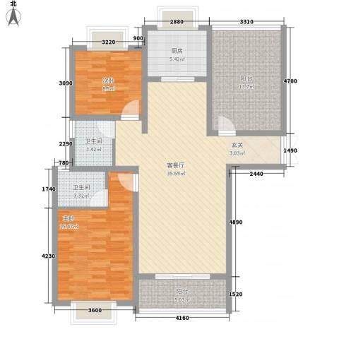 正大国贸中心2室1厅2卫1厨128.00㎡户型图