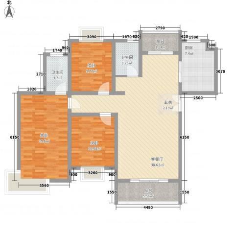 正大国贸中心3室1厅2卫1厨147.00㎡户型图