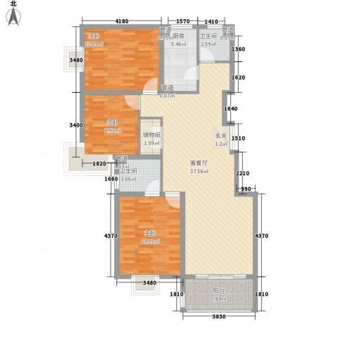金茂国际3室1厅2卫1厨131.00㎡户型图