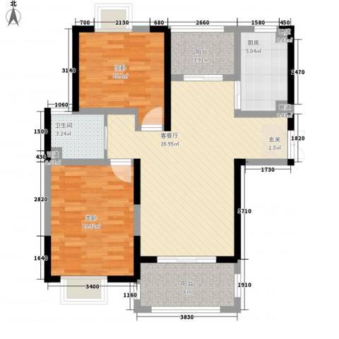 金茂国际2室1厅1卫1厨100.00㎡户型图
