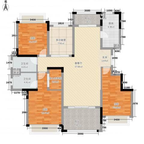 华发・蔚蓝堡3室1厅2卫1厨169.00㎡户型图