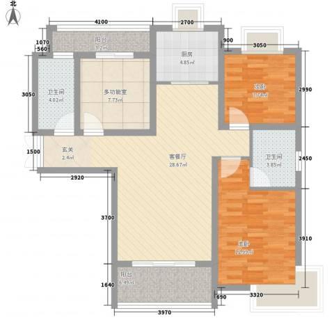 正大国贸中心2室1厅2卫1厨115.00㎡户型图