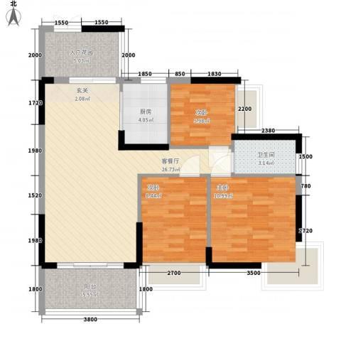 东方家园3室1厅1卫1厨69.91㎡户型图