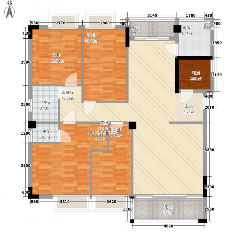 华美新城17.48㎡A幢4居室户型4室2厅2卫1厨