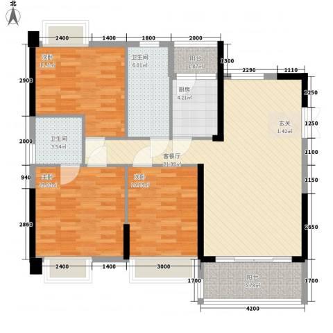 东方家园3室1厅2卫1厨86.94㎡户型图