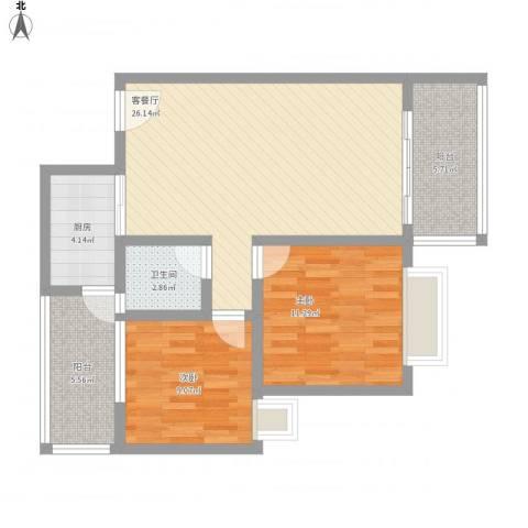 万威美地2室1厅1卫1厨94.00㎡户型图
