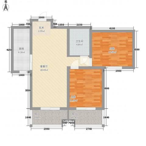 恒圆魏都2室1厅1卫1厨104.00㎡户型图