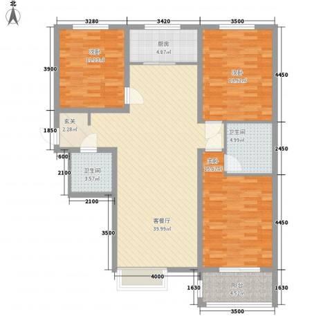 恒圆魏都3室1厅2卫1厨138.00㎡户型图