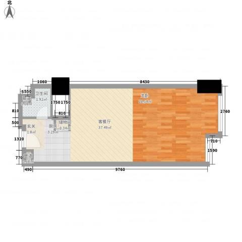 凯铂精品酒店1厅1卫0厨44.80㎡户型图