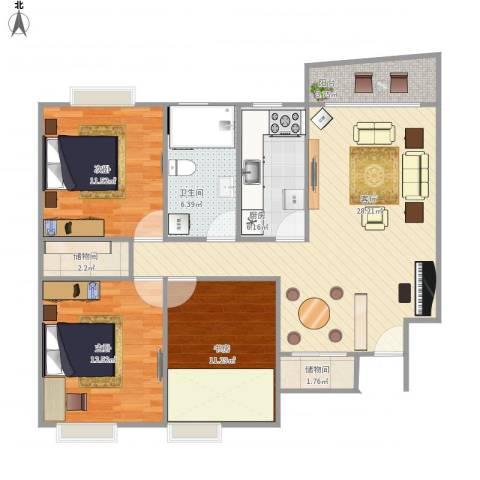 精文城上城3室1厅1卫1厨114.00㎡户型图