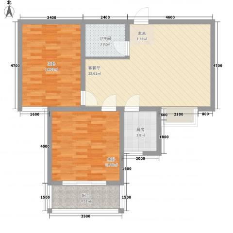 恒圆魏都2室1厅1卫1厨94.00㎡户型图