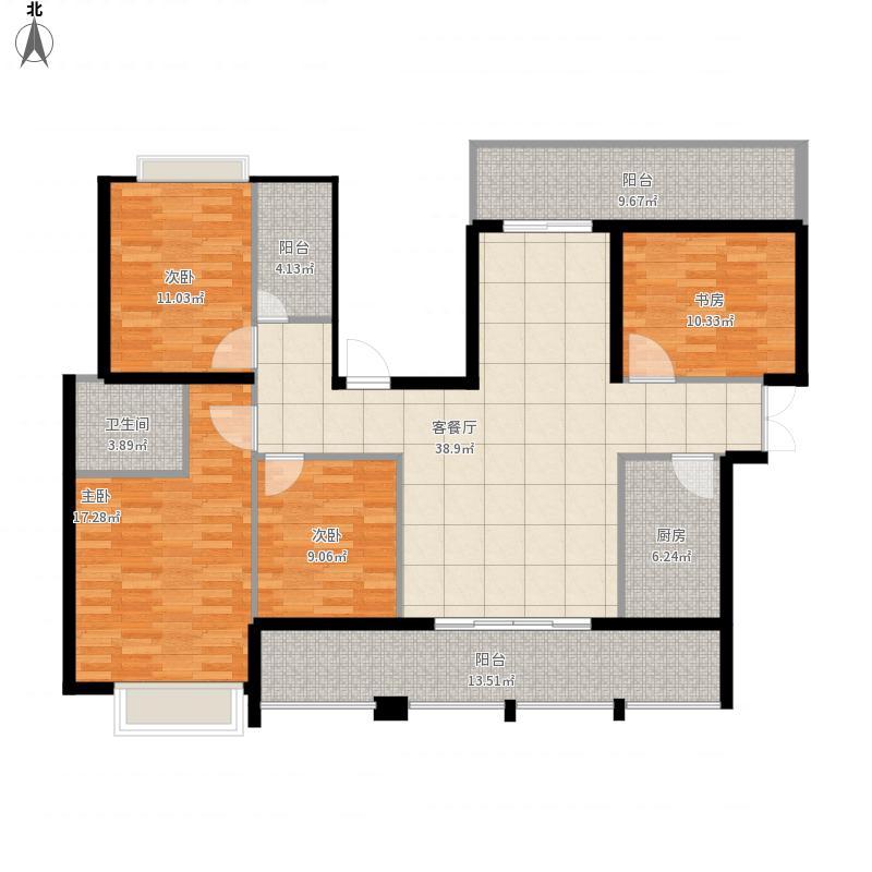 海悦华府一期4#B1户型5室2厅2位一厨