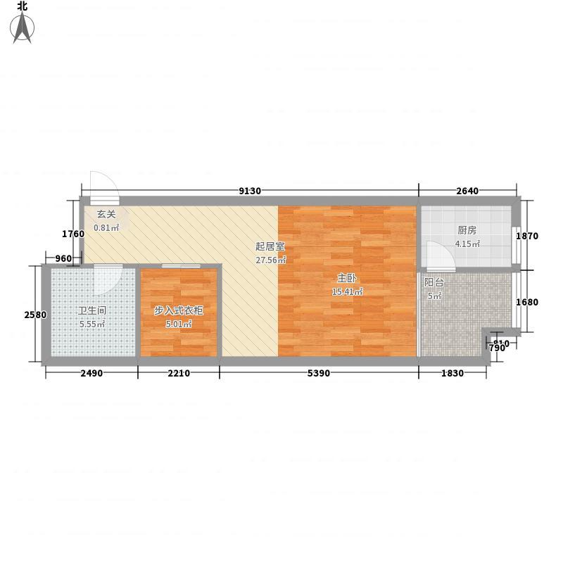 长江一号0室0厅1卫1厨66.00㎡户型图