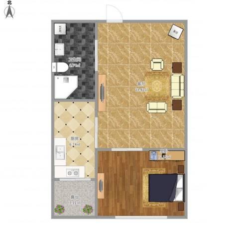 首创・铂悦1室1厅1卫1厨56.00㎡户型图