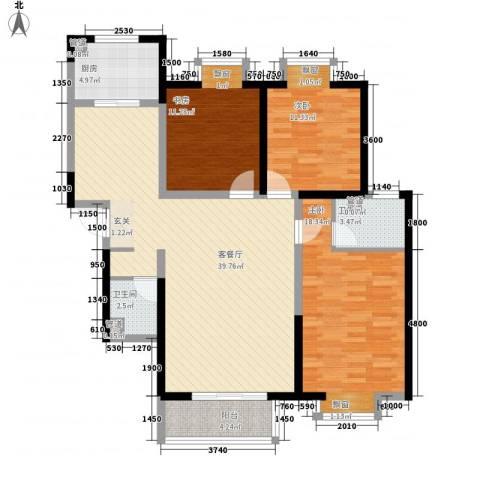 金裕花园3室1厅2卫1厨131.00㎡户型图