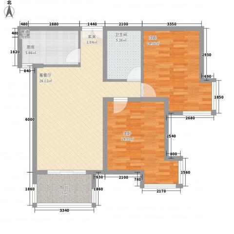 当代名筑2室1厅1卫1厨81.14㎡户型图