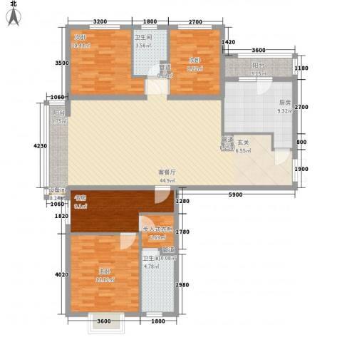 首创・龙湾4室1厅2卫1厨155.00㎡户型图