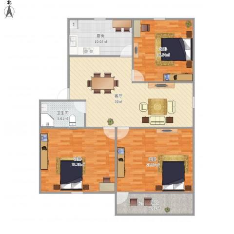 西溪花园3室1厅1卫1厨148.00㎡户型图