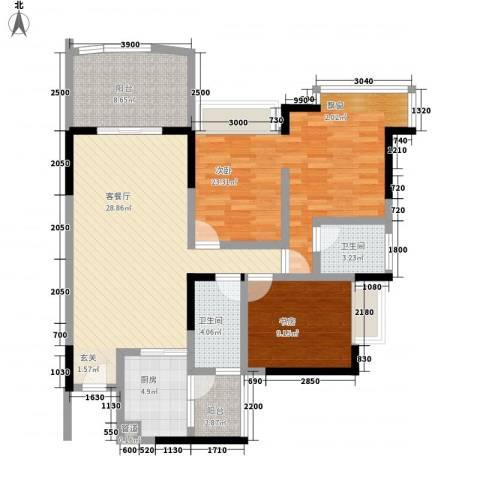 樊华似锦2室1厅2卫1厨85.19㎡户型图
