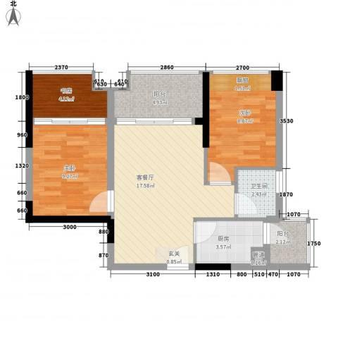 中梁v城市3室1厅1卫1厨65.00㎡户型图