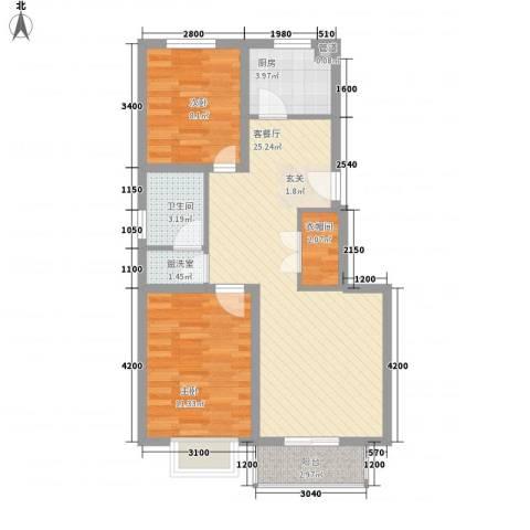 柳岸新居2室2厅1卫1厨85.00㎡户型图