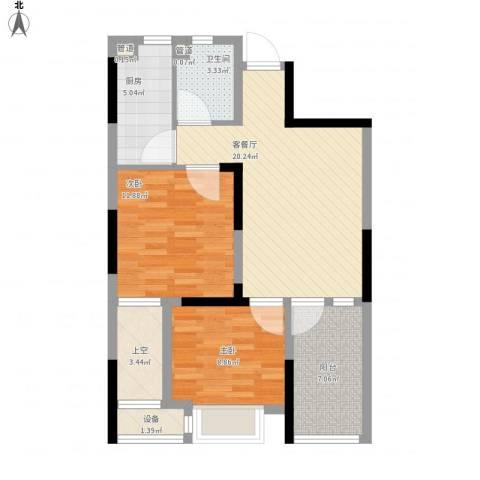旺角公馆2室1厅1卫1厨90.00㎡户型图