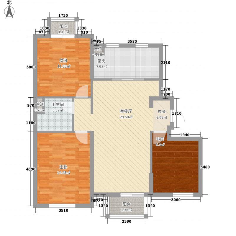 宜和美林115.00㎡一期小高标准层C-a户型3室2厅1卫1厨