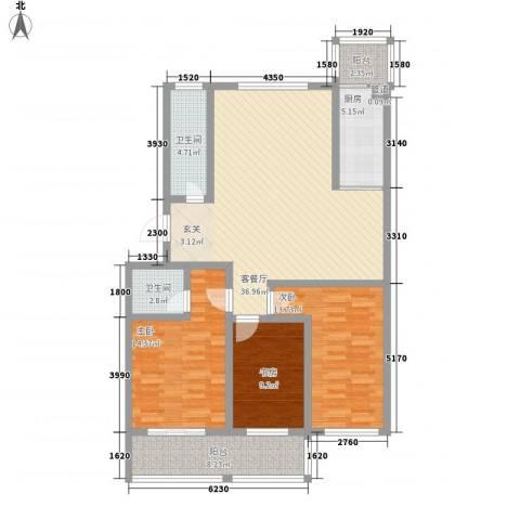 天长嘉园3室1厅2卫1厨112.80㎡户型图