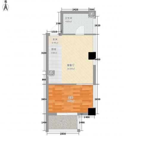 财富湾1室1厅1卫0厨50.00㎡户型图