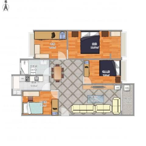 湖景花园4室1厅1卫1厨98.00㎡户型图