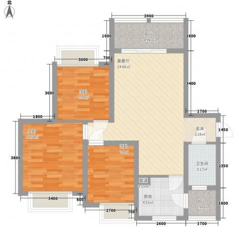 英郦庄园・曼城3室1厅1卫1厨88.00㎡户型图