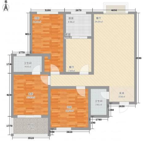 华丰居3室2厅2卫1厨145.00㎡户型图