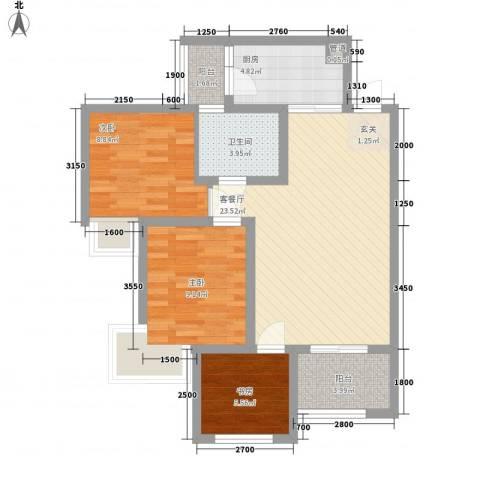 英郦庄园・曼城3室1厅1卫1厨83.00㎡户型图