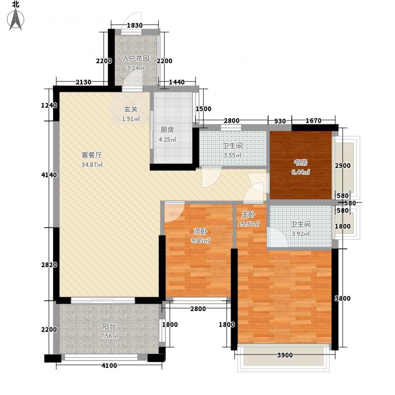 东盟城111.31㎡1号楼01单元户型3室2厅2卫1厨