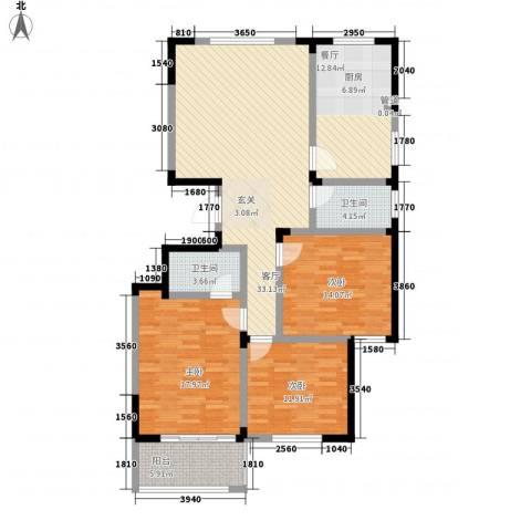 华丰居3室2厅2卫0厨148.00㎡户型图