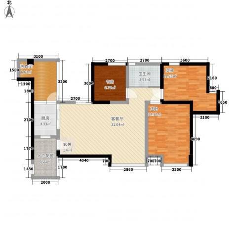 中玮海润广场3室1厅1卫1厨115.00㎡户型图