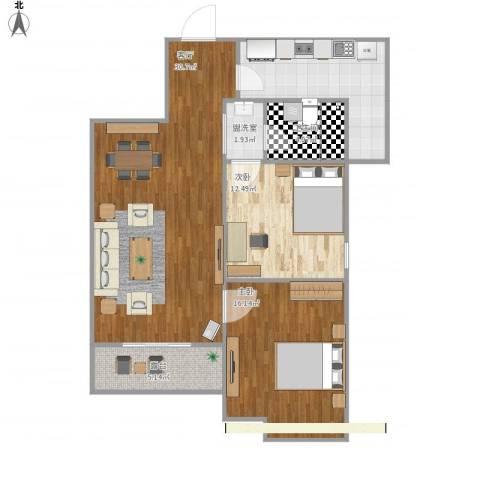 莱茵半岛2室2厅1卫1厨86.00㎡户型图