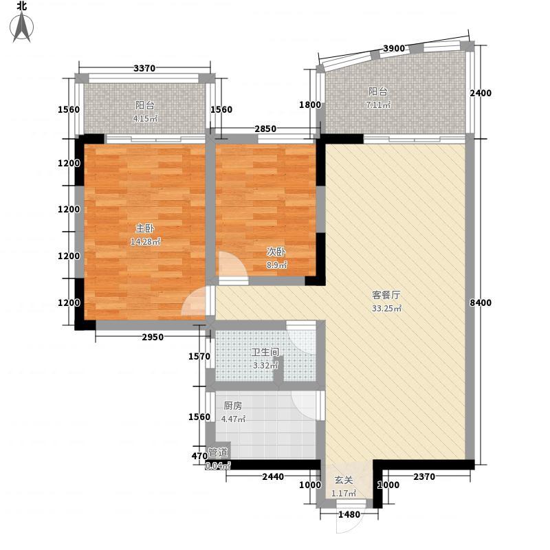 滨江骏景广场户型2室2厅1卫1厨