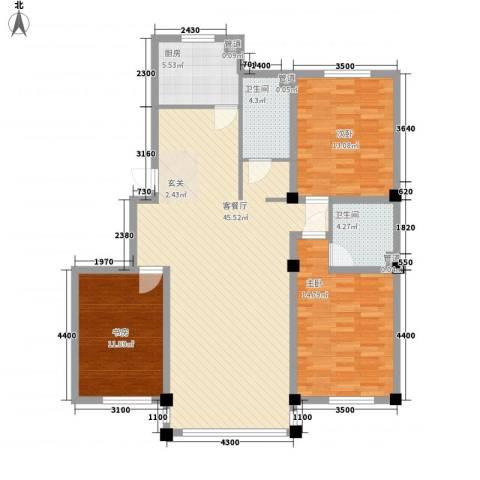 紫金城三期3室1厅2卫1厨128.00㎡户型图