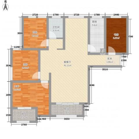 紫金华府4室1厅1卫1厨121.00㎡户型图