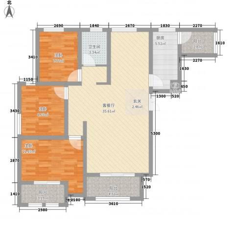 紫金华府3室1厅1卫1厨114.00㎡户型图