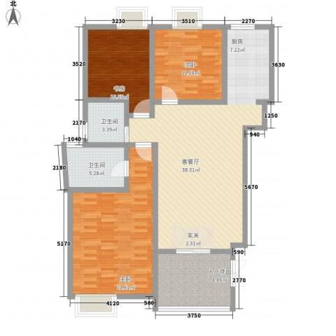 中齐他山3室1厅2卫0厨134.00㎡户型图