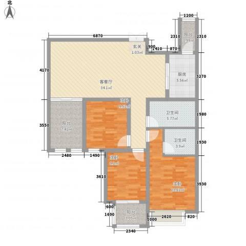 紫金华府3室1厅2卫1厨116.00㎡户型图