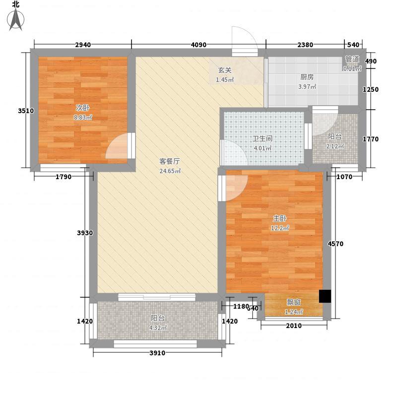 东方红郡87.00㎡一期高层9、13#楼D1户型2室2厅1卫1厨