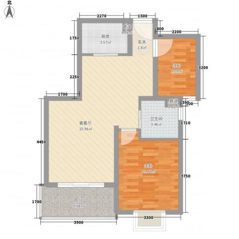 上谷居2室1厅1卫1厨74.00㎡户型图