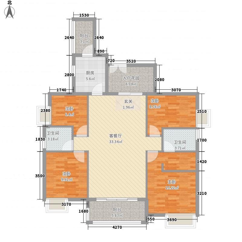 欧浦・御龙湾143.10㎡B14栋01单位户型4室2厅2卫1厨