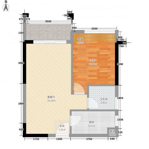 南国豪苑1室1厅1卫1厨54.11㎡户型图
