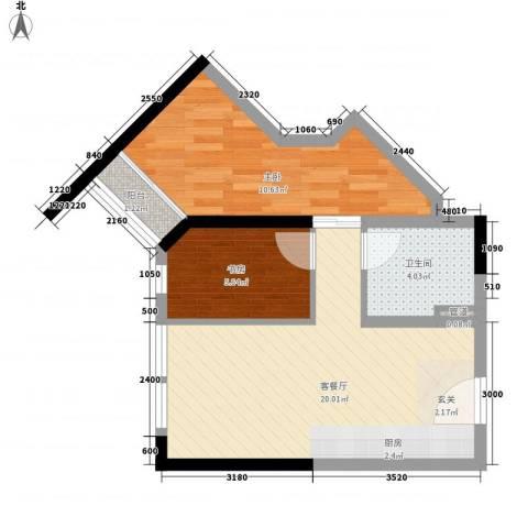 东岸公馆2室1厅1卫0厨67.00㎡户型图